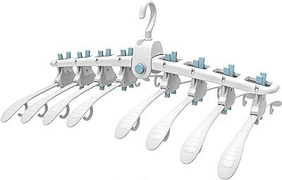 iceagle 洗濯物ハンガー ハンガー子供用 折り畳みハンガー ワンタッチハンガー 反転必要無し 多機能 物干しハンガー 8連ハンガー 滑り止め設計 取り外し可能 マジックハンガー 洋服 ズボン Tシャツ ワンピース バスタオル (白い-ブルー)