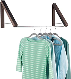 mDesign Expandable Metal Wall Mount Clothes Air Drying Rack - Indoor Air Drying and Hanging Clothing, Towels, Lingerie, Hosiery, Delicates - Great for Laundry Room, Bathroom, Utility - Espresso Brown