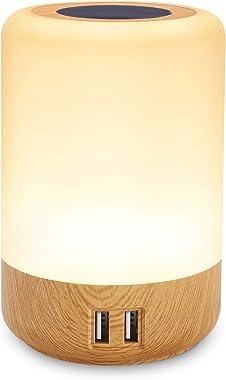 Lampe de chevet USB, led table lamp, avec 4 ports de chargement USB, tactile veilleuse, bureau chambre multi chargeur, Couleu