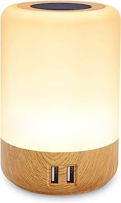 Lampe de chevet USB, led table lamp, avec 4 ports de chargement USB, tactile veilleuse, bureau chambre multi chargeur, Couleur réglable, RVB, minuterie éteinte (EU plug)