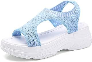 AUCDK Women Sports Sandals Soft Knit Mesh Upper Breathable Open Toe Platform Sandals with Quick Slip On Elastic Closure