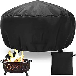 Peralng Feuerstelle Abdeckung, Feuerstellenabdeckungen rund mit Kordelzug, Wasserdicht, Winddicht, UV-Beständiges für Feuerschale Outdoor Barbecue Staubschutz85x40cm