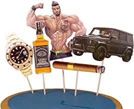 Set of 5 WallyE Cake Topper for Boyfriend Male 30th 40th Birthday, Muscle Men and Car Cake Decoration