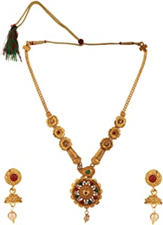 Efulgenz Indian Bollywood Traditional Floral 14 K Gold Plated Crystal Kundan Wedding Temple Necklace Earrings Jewelry Set