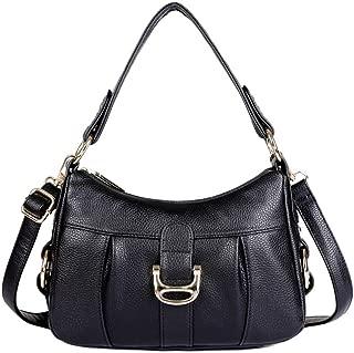 Fine Bag/Soft Waterproof Handbag Women's Retro Leather Shoulder Bag Sling Bag Messenger Bag Multi-Pocket Capacity (Color : Black, Size : One Size)