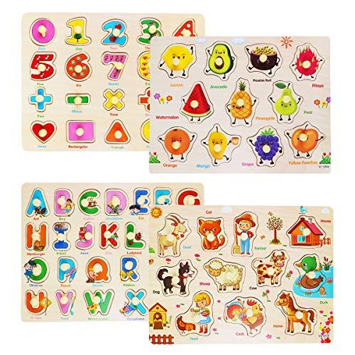 Rompecabezas de Madera Puzzle Clavijas Puzzles Conjunto de 4 Alfabeto, Número, Animales y Fruta Puzzles para niños pequeños Juguete Educativo de Multicolor para Aprendizaje (4)