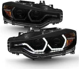 ACANII - For Black Smoke 2012-2015 BMW F30 328i 335i Sedan LED 3D DRL 2 Projector Headlights Headlamps Driver+Passenger
