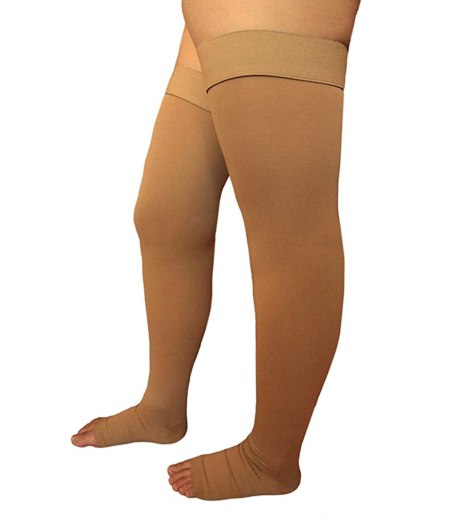Runee Extra Wide Thigh High Open Toe Compression Stockings Big and Tall Hosiery for Big Thigh and Calf (Beige)