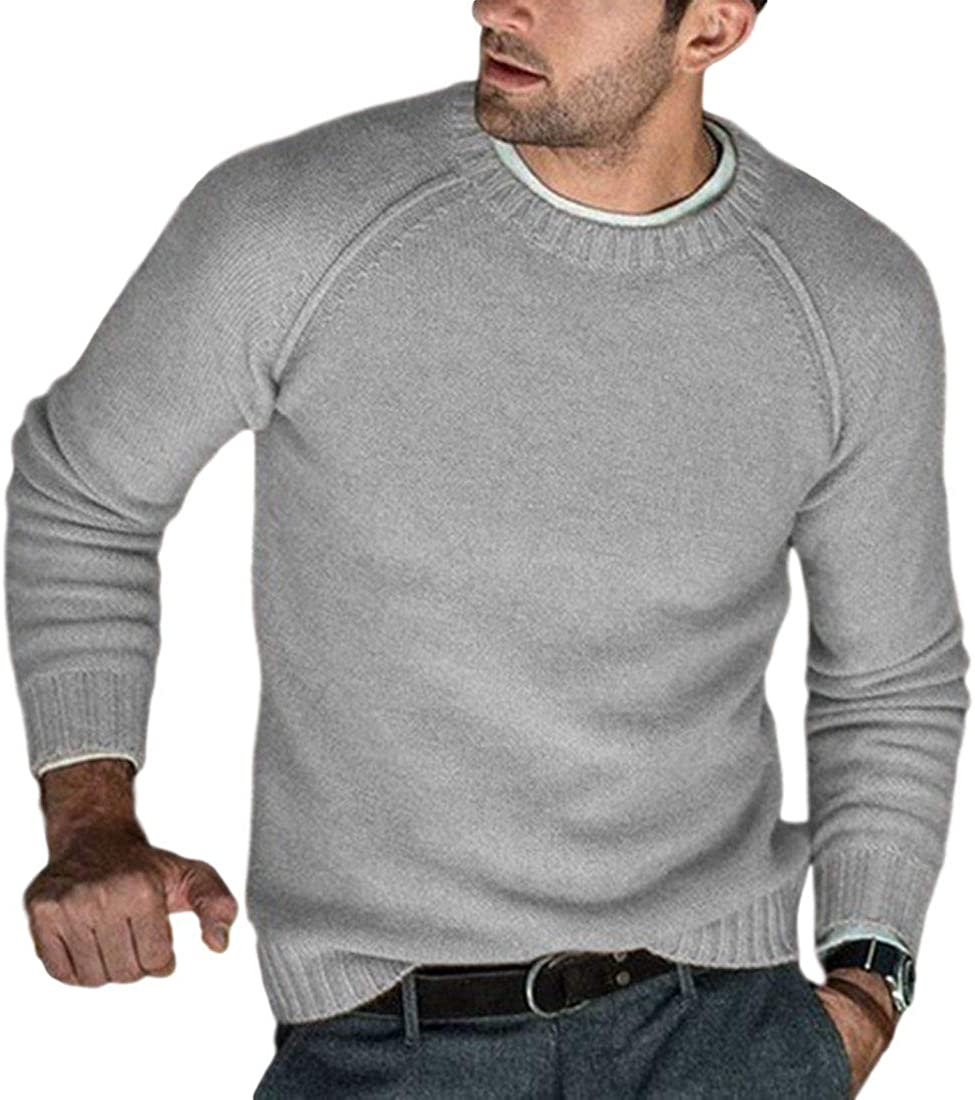 AMEBELLE Men's Casual Long Sleeve Knitted Pullovers Soft Crew Neck Sweater
