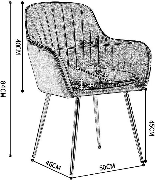 Chaise de Salle à Manger en Velours avec Accoudoir et Dossier Rembourré Siège Pieds en Métal Tabouret Fauteuil pour Enfants Adultes Moderne Design Max. 150kg Green