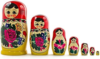 BestPysanky Set of 7 Semenov Traditional Hand Painted Wooden Matryoshka Nesting Dolls 7 Inches