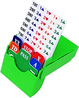 TSB Bridge Bidding Boxes Set of 4 - Include Durable and Washable TSB Quality Plastic Bidding Cards Easy to Open,Stand and Stack,Green Color