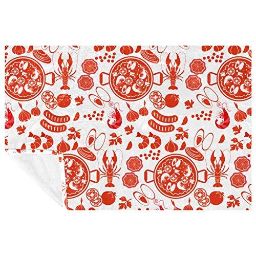 EZIOLY Manta acogedora con patrón de paella, para las piernas, súper esponjosa, suave y cálida, de microfibra de felpa para cama, sofá, al aire libre, viajes, picnic, camping (59 x 39 pulgadas)