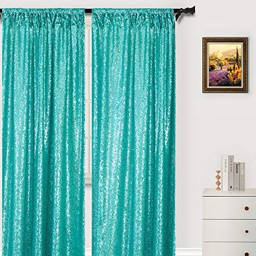 Sparkle Backdrop Curtain Teal 2 Panels Set Sequin Photo Backdrop Christmas Green 2FTx8FT Sequin Backdrop Curtain Pack of 2 -1220S