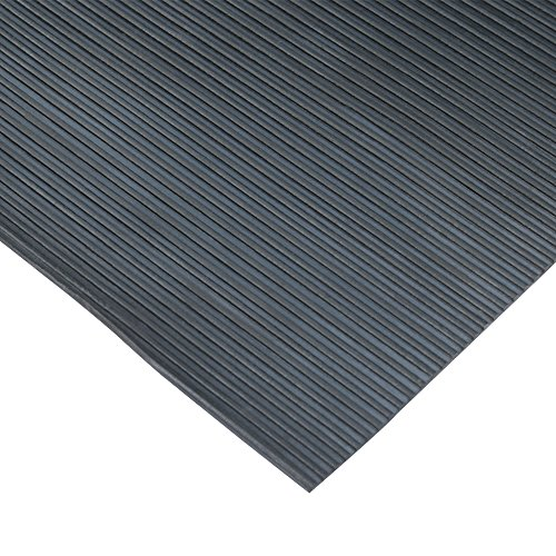 Rubber-Cal 03_167_W_RC_20 Ramp Cleat Non-Slip Outdoor Rubber Floor Mats, 1/8' Thick x 3' x 20', Black