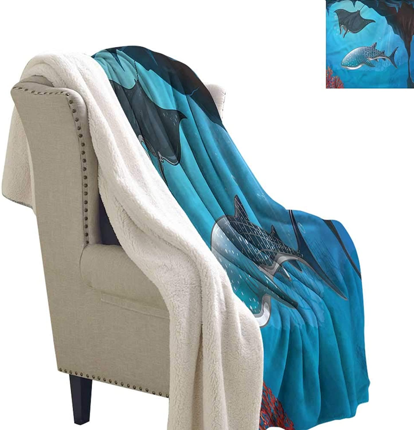Beihai1Sun Shark Blanket Small Quilt Swimming Shark Ocean 60x32 Inch