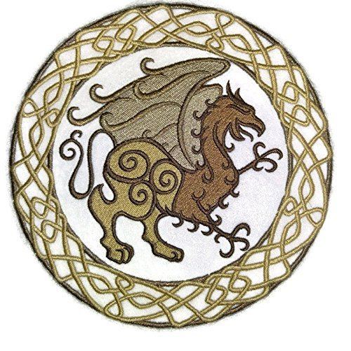 BeyondVision Custom Legendary Mythical Unique Dragon [ Celtic Gryphon Circle] Embroidery Iron On/Sew Patch [6.87' 6.87'][Made in USA]