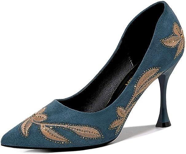 AJUNR Femmes Loisirs Mesdames Chaussures en Cuir Nouveau Style Printemps Net Rouge Bien des Talons Chaussures Occupation Quatre Saisons De Confort De Travail De 9Cm Talons