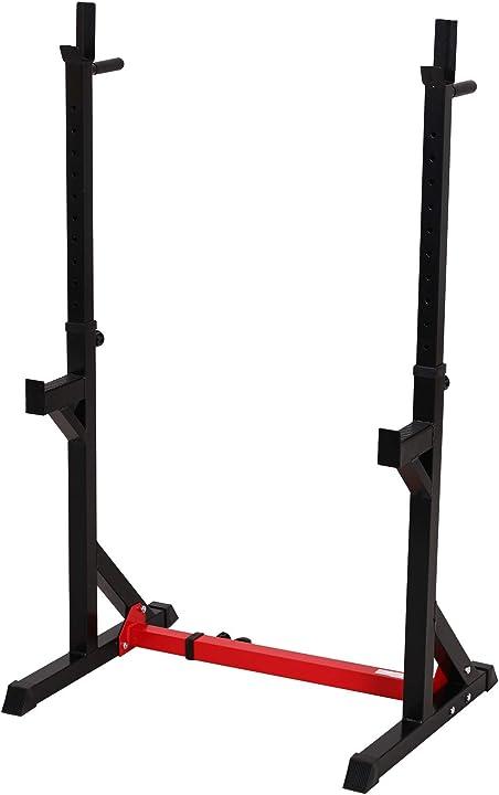Supporto per bilanciere regolabile su 12 livelli max. 150 kg acciaio 77-122 x 66 x 103-163 cm homcom A91-071