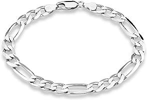 """MiaBella 925 Sterling Silver Italian 7mm Solid Diamond-Cut Figaro Link Chain Bracelet for Men, 7.5"""", 8"""", 8.5"""", 9"""""""