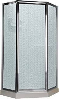 American Standard AMOPQF2436 Neo Angle Tall Framed Hammered Glass Shower Door, 68#1/2-Inch