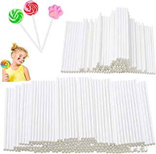 400Pcs 6 Inch Lollipop Sticks,White Paper Cake Pop Treat Sticks,Sucker Stick for Chocolates,Candy,Cookies,DIY Crafts