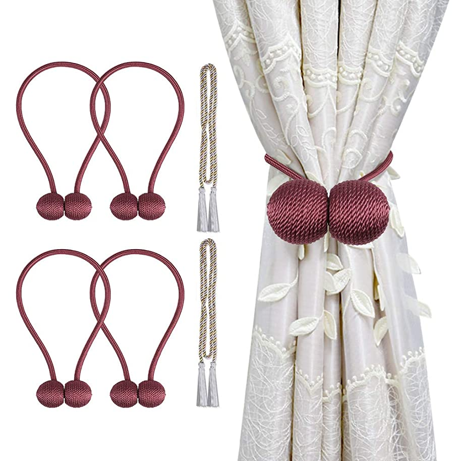 Cyrico Magnetic Curtain Tiebacks, Decorative Curtain Holdbacks Rope Holdbacks Convenient Drape Tie Backs for Thick Sheer Curtains Light Weight Drapes Outdoor and Indoor Curtains (Burgundy Red(4 Pack))