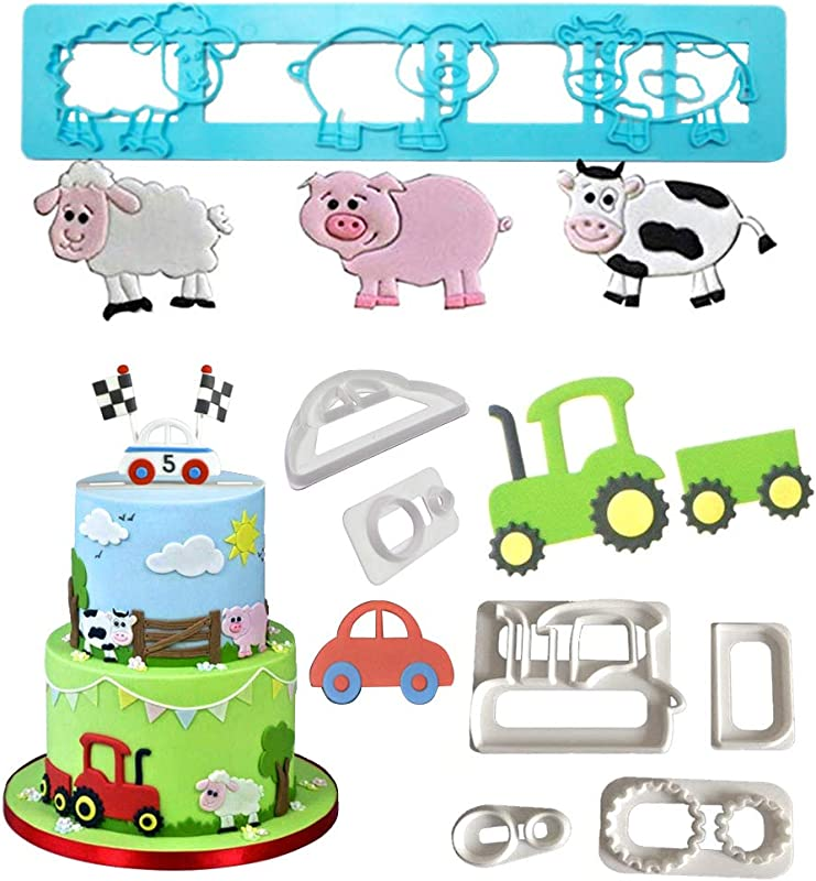 Farm Animals Cake Decorating Cutters Cartoon Tractor Car Cookie Cutter Set Pig Sheep Cow Biscuit Mold For DIY Baking Fondant Sugarcraft Pastry Cupcake Toppers