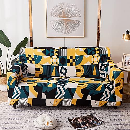 ASCV Impresión de Estilo Europeo Funda de sofá elástica Sala de Estar Sofá de Esquina Sofá Toalla Cubierta de Muebles Cubierta de Flor elástica Sombrero A8 4 plazas