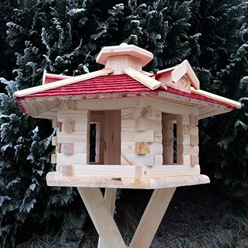 Sehr großes Vogelhaus Vogelhäuser Vogelfutterhaus Vogelhäuschen aus Holz Schreinerarbeit Gaube Rot XXL - 3