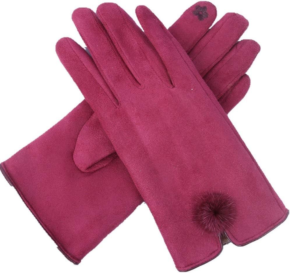 Jamkf Female Winter Warm Warm Gloves Wild Plus Velvet Thick Cotton Gloves Suede Plush Ball Touch Screen Finger Gloves