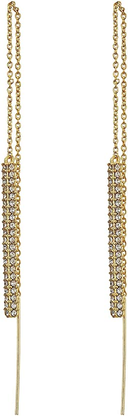 LAUREN Ralph Lauren - Gold and Pave Bar Threader Earrings