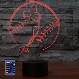 HPBN8 Ltd 3D Baseball Night Light Illusion LED Lamp 7/16 Color Change USB Powered Touch Switch Remote Control Table Kids G...