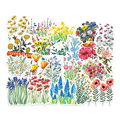 50 pegatinas de graffiti de flores, pequeñas pegatinas frescas para maletas, pegatinas de monopatín de bricolaje para niños