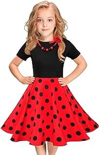 Girls Vintage Dress Polka Dot Swing Rockabilly Dresses with Necklace Size 6-12 Girls Dresses