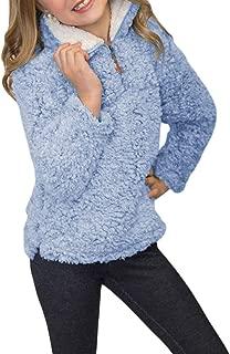 Azokoe Girls Winter Warm Fuzzy Fleece 1/4 Zip Hoodie Windproof Pullover Tops(4Y-13Y S-2XL)