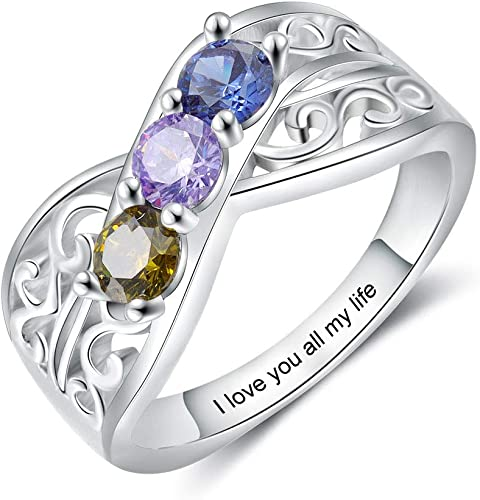 kaululu Personalized Mother Ring for Women Birthstone 3/4/5 Charms Ring Simulated Birthstones for Grandmother Mother Meaningful Anniversary Rings