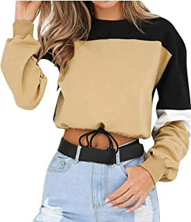 Fasion Womens Long Sleeve Coat Splcing Color Sweatshirt Pullover Tops Blouse