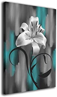 Maxwellmore Teal Gray Lily Flower Modern Giclee Canvas Prints Artwork Contemporary Original Designed Pictures to Photo Paintings On Canvas Wall Art for Home Decorations Wall Decor 16