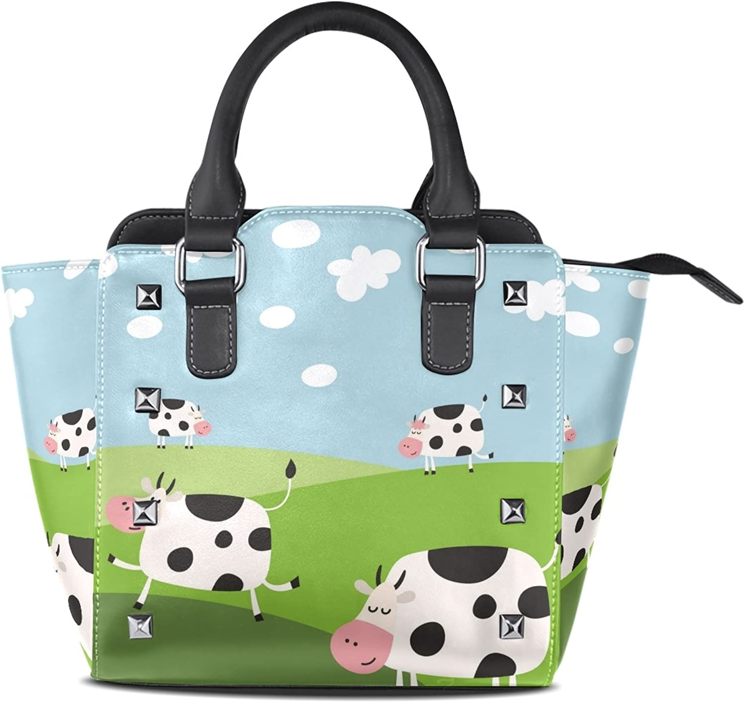My Little Nest Women's Top Handle Satchel Handbag Cartoon Funny Cow Ladies PU Leather Shoulder Bag Crossbody Bag