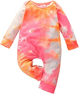 HAPPYMA Toddler Baby Girl Boy Clothes Long Sleeve Romper One Piece Jumpsuit Ribbed Pajamas Tie Dye Clothes