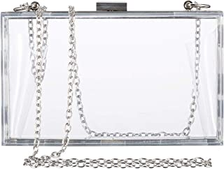 Clear Purse Bag Crossbody Box Clutch for Women, Stadium Approved Purses and Handbags for Prom, Bridal, Work, Sporting Gameday, NFL & Concerts with Silver Chain Strap