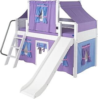 Wow Girl II Deluxe Panel Low Loft Tent Bed with Slide