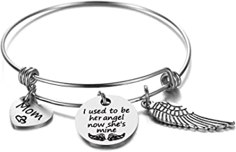 Memorial Jewelry Remembering Mom Gifts Sympathy Bangle - I used to be his Angel Now, He's mine. Mom