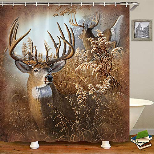Deer Shower Curtain for Bathroom, White Tailed Deer in Tall Grass Fabric Shower Curtain with Hooks, Camo Hunting Bathroom Curtain Men Shower Curtain 71x71 Inches