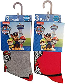 Nickelodeon Paw Patrol, Pack de 6 calcetines para perros Chase, Rubble y Marshall, rojo/gris