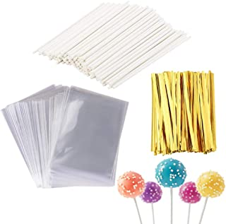 500 Pcs Set Including 100 Pack Lollipop Treat Sticks,200 Pieces of Lollipop Parcel Bags and 200 Pieces of Wire Lines