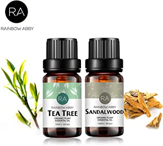 Sandalwood Tea-Tree Essential Oil Set Aromatherapy 100% Pure Organic Oils for Diffuser, Massage, Skin- 2 x 10ml