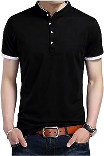 [Limore(リモア)] バンドカラー カジュアル ポロシャツ シンプル デザイン 立ち襟 半袖 シャツ メンズ