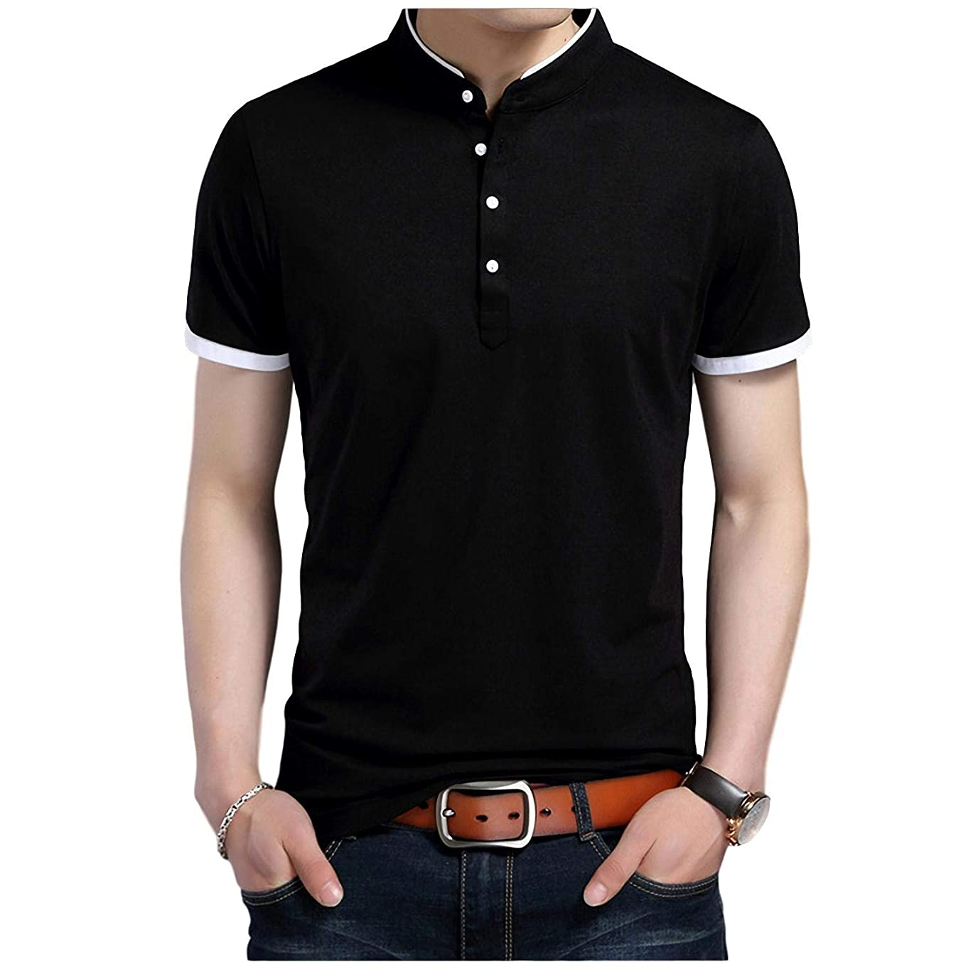 コークス初期の倉庫[Limore(リモア)] バンドカラー カジュアル ポロシャツ シンプル デザイン 立ち襟 半袖 シャツ メンズ